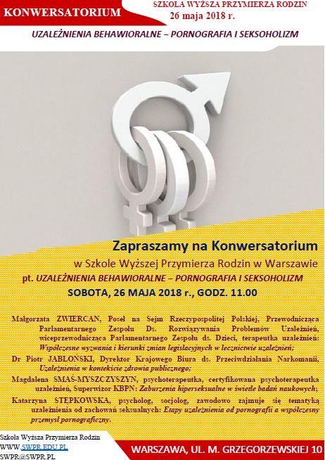 Konwersatorium Szkoły Wyższej Przymierza Rodzin poświęcone tematyce uzależnień.