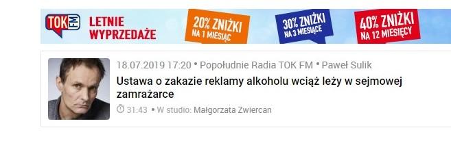 Popołudnie Radia TOK FM – audycja Pawła Sulika